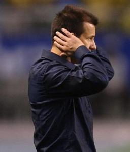 Coach Dunga watching his team suffer against Bolivia