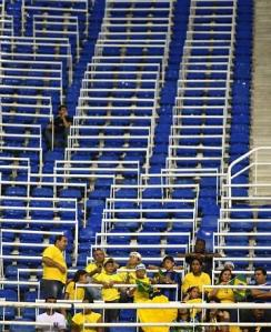 A sea of blue chairs in the stadium