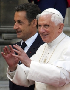 Sarkozy and Pope Benedict XVI in France